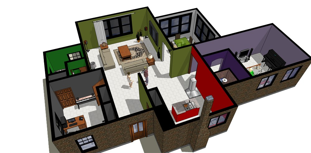 Bati 3d r alisations for Plan maison google sketchup